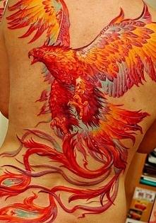 phoenix back tattoo for woman