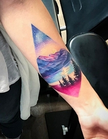 mountains lake tattoo