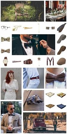 """""""Alternatywne"""" dodatki ślubne dla pana młodego - styl retro, vintage; butonierka, kapelusz, spinki,szelki, obrączka, mucha, sygnet, krawat [więcej zestawów po kliknięc..."""