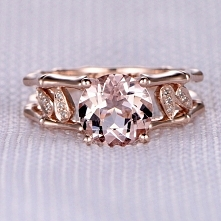 8mm Round Cut Morganite and Diamond Engagement Ring 14k Rose gold Unique Bamb...