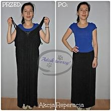 Ze zbyt wielkiej i za długiej sukienki zrobiłam dla siostry spódnicę maxi. :)...