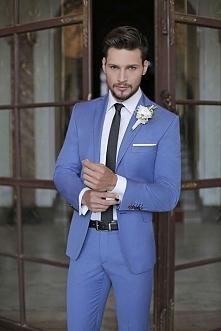Niebieski garnitur ślubny &...