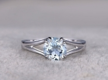 1.2 Carat White Gold Aquamarine Engagement Rings Solitaire Promise Ring 8 Cla...