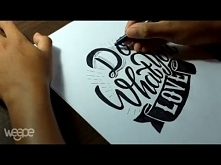 """Hand Lettering (Typography) Tutorial, Step by step how to make writing """"..."""