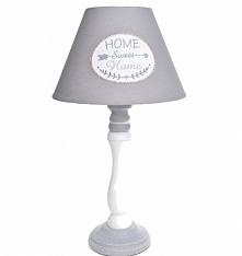 Lampa nocna stołowa Home Sweet Home 42 cm  - szaro-biała. Podstawa drewniana ...