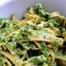 Makaron ze szpinakiem (szpinak, oliwa z oliwek, czosnek, białka jaj, kilka łyżek śmietanki)