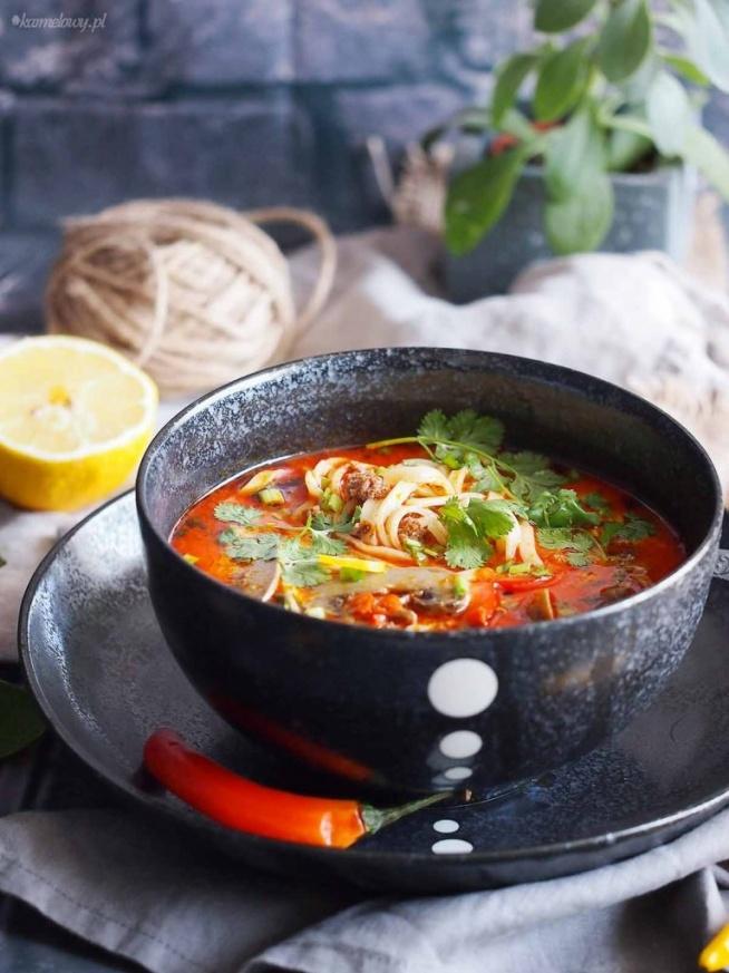 Ekspresowa tajska zupa z makaronem, mięsem mielonym,