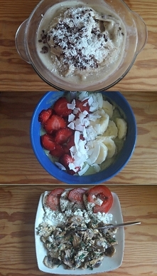 3 propozycje śniadań: 1. Bananowe lody 2. Owsianka z owocami 3. Jajecznica z ...