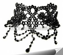 Czarna kolia z koralikami, biżuteria