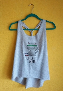 Koszulka na trening ze starego t-shirta +nadruk z kotem :)  origamifrog.pl kr...