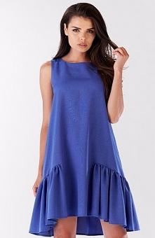 Awama A176 sukienka niebieska Efektowna sukienka, dół wykończony szeroka falbaną, zapinana z tyłu na zamek