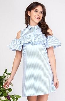 Milu by Milena Płatek MP369 sukienka Przepiękna sukienka, wykonana z wzorzystej dzianiny w modne paski, krój typu trapez
