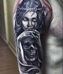 dark angel arm tattoo