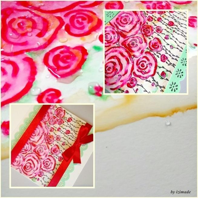 Kartka okolicznościowa z różyczkami.