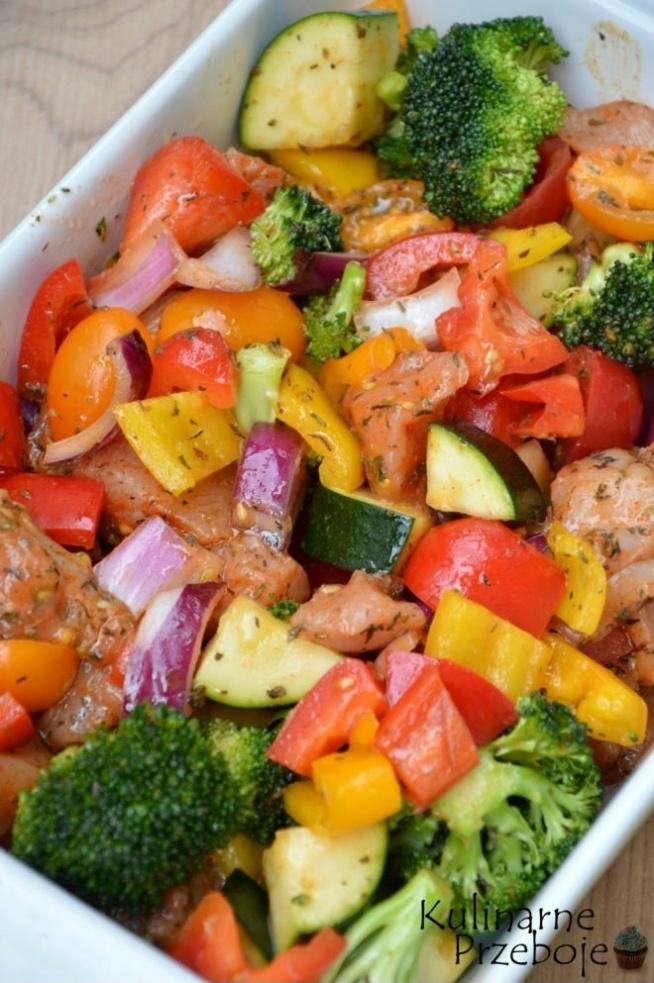 Pieczone filety kurczaka z warzywami – zdrowy obiad w 15 minut – Składniki: 2 średnie piersi z kurczaka – ok. 500g (+pieprz, sól i papryka słodka do przyprawienia mięsa) 2 duże papryki czerwone 1 duża papryka żółta 1 czerwona cebula 1 średnia cukinia (u mnie ok. 320g) 1 brokuł 10 pomidorków cherry żółtych 10 pomidorków cherry czerwonych oliwa z oliwek do smaku: bazylia, oregano, tymianek, sól, pieprz Pieczone filety kurczaka z warzywami pieczone piersi kurczaka Pieczone filety kurczaka z warzywami – zdrowy obiad w 15 minut – Wykonanie: Rozgrzej piekarnik do 260st.C. Filety z piersi kurczaka oczyścić, pokroić w kostkę (nie za dużą, by mięso zdążyło się upiec zanim warzywka za bardzo się podpieką). Doprawić solą, pieprzem i słodką papryką. Czerwoną cebulę oraz cukinię pokroić w kostkę. Wszystkie papryki pozbawić gniazd nasiennych i również pokroić w kostkę. Pomidorki cherry przekroić na połówki. Brokuła podzielić na różyczki. Wszystkie składniki wrzucić do dużej miski, skropić kilkoma łyżkami oliwy z oliwek, doprawić do smaku solą, pieprzem, bazylią, oregano oraz tymiankiem. Wysypać całość do dużej brytfanny lub naczynia żaroodpornego. Piec całość przez 12-15 minut w temp. 260st. C (aż kurczak będzie upieczony i soczysty – ewentualnie jeśli warzywa zbyt szybko się podpiekają, a kurczak jeszcze nie jest upieczony, to można całość przykryć folią i piec jeszcze chwilkę). Smacznego! Polecam również: Kotlety z kaszy jaglanej i brokułu