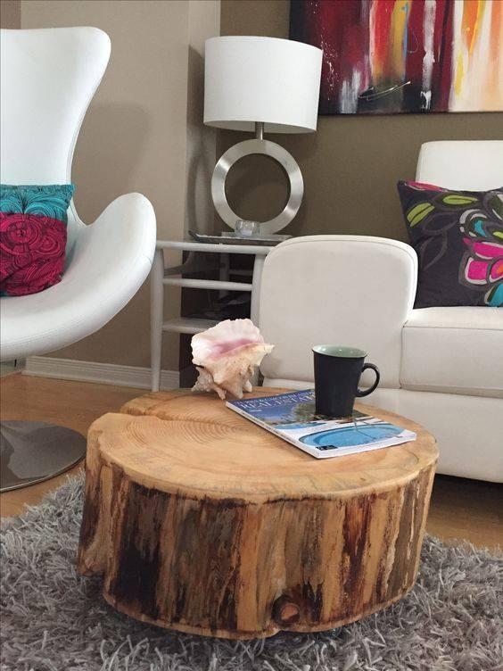 Stolik Z Pnia Drzewa Piękno Naturalnego Drewna Doskonale