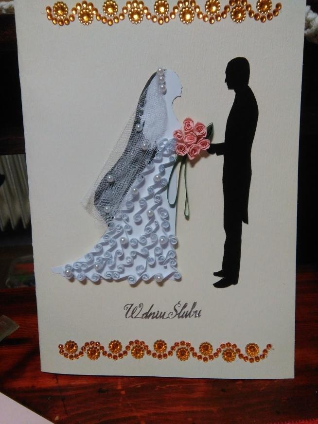 Kartka ślubna Quilling Na Kartki Ręcznie Robione Zszywkapl