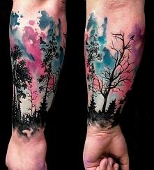 drzewa tatuaże na ręce