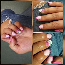 semilac 056,001 top mat +  neonail French tulip=   arbuz i French manicure