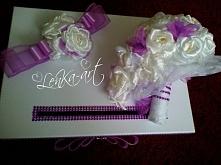 Pudełko na koperty / bukiet ślubny fiolety