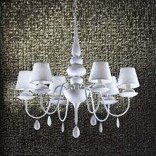 BLANCHE SP6 Ideal Lux 35581 lampa wisząca  Piękny żyrandol Blanche wykonany z biąłego metalu z sześcioma również białymi abazurami z materiału.  Blanche to seria eleganckich lam...