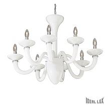 WHITE LADY SP8 19390 IDEAL LUX LAMPA WISZĄCA KANDELABR BIAŁY  Wysokiej jakości dekoracyjna lampa Windsor, wykonana z białego szkła, co sprawia, ze pasuje do wielu zarówno klasyc...