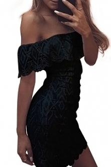 Cudowna sukienka z odkrytymi ramionami w kolorze czarnym dostępna od ręki :) ...