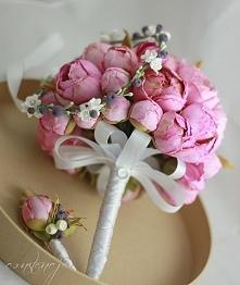 Bukiet ślubny - ręcznie robione peonie.