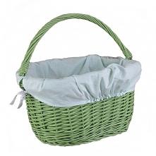Wiklinowy kosz na rower zielony, obszyty materiałem w kolorze jasno seledynowym