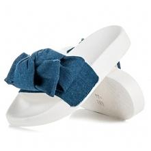 Jeansowe klapki z kokardą :)
