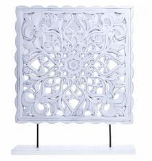 Drewniany biały relief - de...