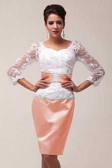Sukienka na wesele i inne okazje. Sukienka wieczorowa wykonana z połączenia koronki Chantily oraz satynobawełny. Góra pięknie zdobiona cekinami w kolorze białym obszyta koralika...
