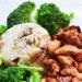 Pierś z indyka w sosie barbecue, ryz z pieczarkami i cebulką i brokuł.