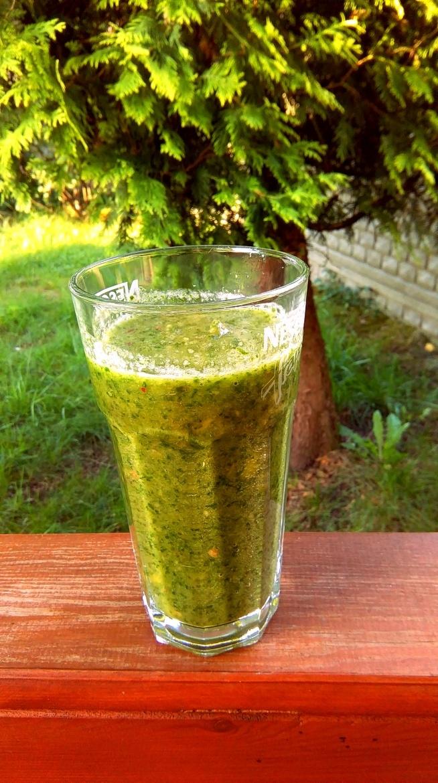 zielony koktajl na śniadanko ;) garść szpinaku, dojrzały mały  banan, 1/2 jabłka,  sok z cytryny, łyżeczka młodego jęczmienia i trochę wody --> mniam :)! poranne orzeźwienie murowane ;)