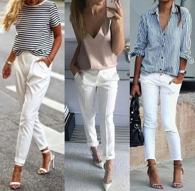 Znalezione obrazy dla zapytania białe spodnie stylizacje na lato