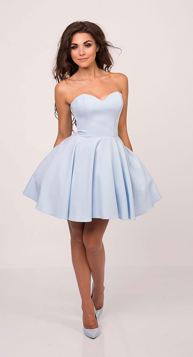 MENRIN rozkloszowana gorsetowa  sukienka baby blue Kliknij w zdjęcie by przejść do przedmiotu