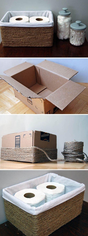 diy- koszyk z kartonu, idealny do łazienki :)