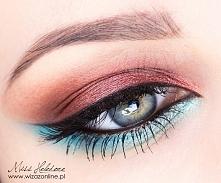 Makijaż tropikalny turkus i miedź