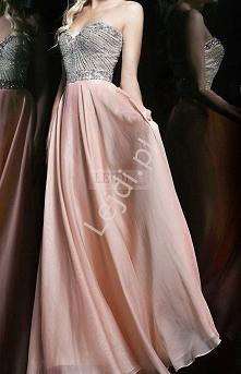 Suknia z kryształkami, jasny pudrowy jasny róż | sukienki dla druhen, świadko...