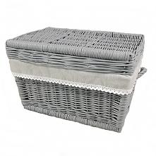 Wiklinowy kufer z płaskim wiekiem - szary obszyty, wzór melanż z koronką