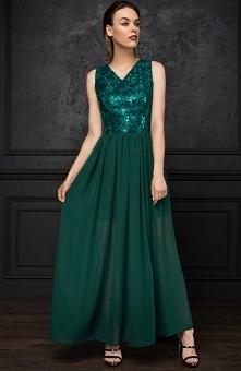 Monnom Monnom BG-DL sukienka zielona Zjawiskowa sukienka, góra dopasowana, na wierzchu cekinowa koronka podszyta tkaniną