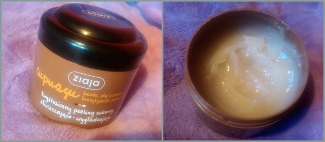 Ziaja, Cupuacu, Krystaliczny peeling cukrowy złuszczająco - wygładzający +zapach jest obłędny ♥ +natłuszcza skórę +nawilża +skóra po nim jest miękka +delikatnie złuszcza +wygładza +/- pozostawia tłustą warstwę na skórze