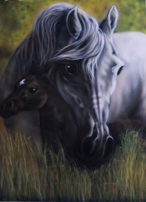 Obraz Konie. Airbrush. Praca mojego męża