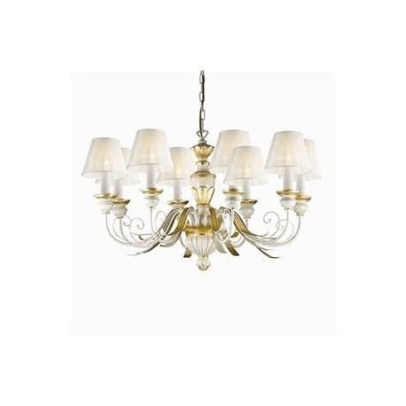 FLORA - klasyczna lampa wisząca, kandelabr, wykonany z  metalowych części w kolorze antycznej bieli. Lampa pasujaca do wielu klasycznych pomieszczeń.