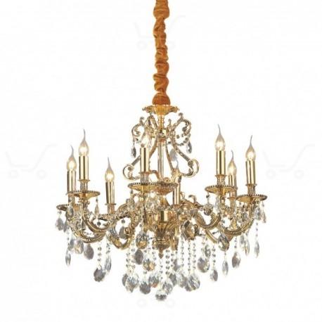 Duża lampa wisząca SP8 to połączenie wysokiej jakości szlachetnych materiałów, pozwalających na satysfakcję z zakupu przez długie lata. Korpusy Gioconda SP8 wykonane są z solidnych metalowych odlewów wykończonych w antycznym złocie lub srebrze a całość została ozdobiona ciętymi kryształkami, które w niesamowity sposób odbijają emitowane przez lampę światło.