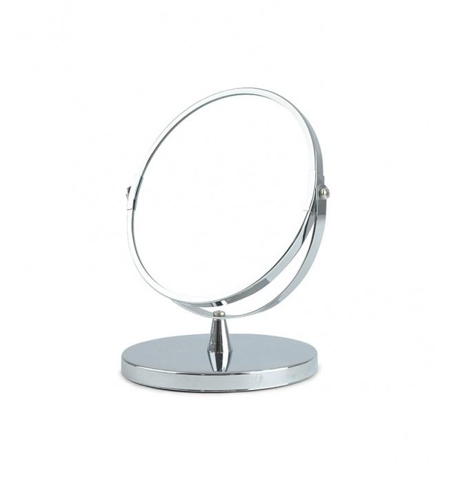 Lustro metalowe okrągłe do postawienia. Rama lustra w kolorze srebrnym. Lustro do postawienia na okrągłej podstawce. Doskonałe jako dekoracja do sypialni lub do łazienki.  Lustro pasuje do srebrnych dodatków - do stylu glamour.