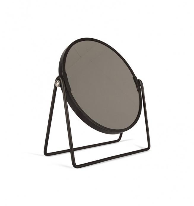Lustro metalowe okrągłe do postawienia. Rama lustra w kolorze czarnym. Lustro do postawienia na podpórkach - nóżkach. Doskonałe jako dekoracja do sypialni lub do łazienki.