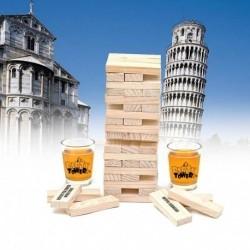 Kliknij w zdjęcie, by przejść do sklepu! SmartGift.pl Imprezowa Wieża- Gra z kieliszkami oraz klockami z nadrukowanymi poleceniami.  Imprezowa Wieża to udoskonalona i nieco bardziej niegrzeczna wersja znanej i lubianej gry Wieża.  Zasady są proste: uczestnicy gry wyciągają kolejno drewniane klocki z wzniesionej wieży w ten sposób, aby budowla nie zawaliła się. Kto zburzy wieżę, przegrywa! Ale zanim do tego dojdzie, czeka Was świetna zabawa. Niektóre klocki Imprezowej Wieży mają wypisane polecenia, które musi wykonać osoba, która je wyciągnie.