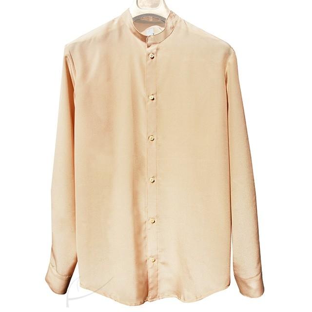Beżowa koszula jedwabna do zamówienia w dowolnym rozmiarze i kolorze w butiku latkafashion.com