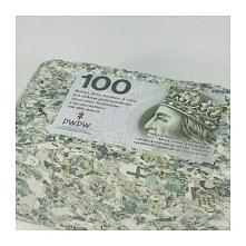 Brykiet z pieniędzy - 100 zł Banknoty zostały profesjonalnie zniszczone w Pol...